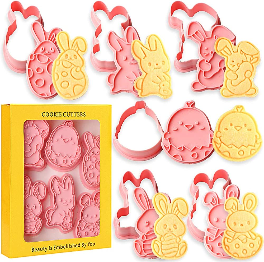 SQHOHO Easter Cookie Cutters Set 6 Pieces Cookie Stamp Biscuit Molds, Easter Egg, Bunny, Chick, Carrot, Rabbit