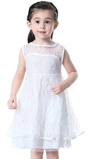 Happy Cherry - Vestido Larga de Fiesta Boda para Niñas sin manga de Encaje Tul Elegante