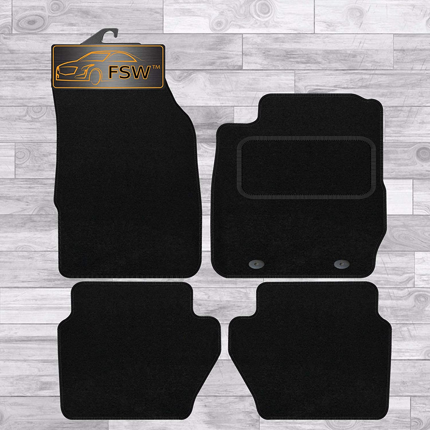 FSW Fiesta Mk7 2009-2011 Lhd Oval Fixing Tailored Classic Carpet Car Floor Mats Black