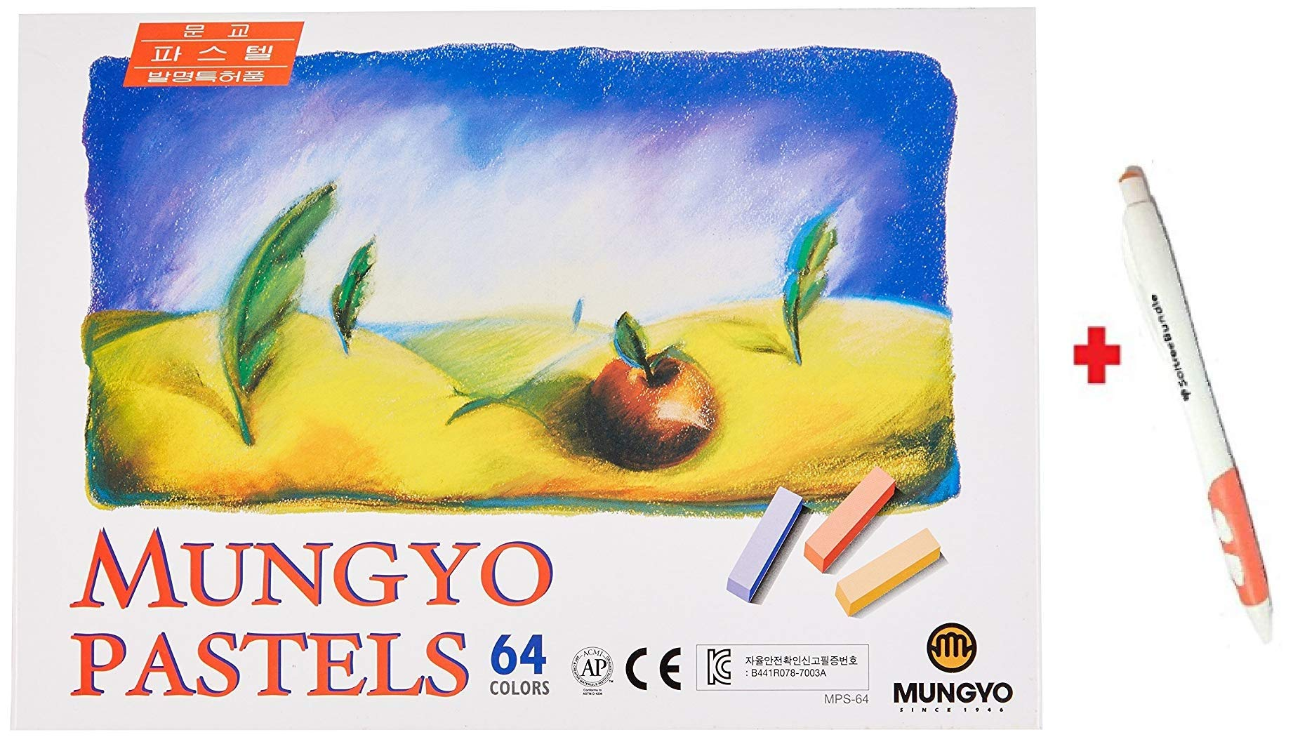 Mungyo Non Toxic Square Chalk, Soft Pastel, 64 Pack, Assorted Colors + SoltreeBundle Ballpoint Pen(Black)