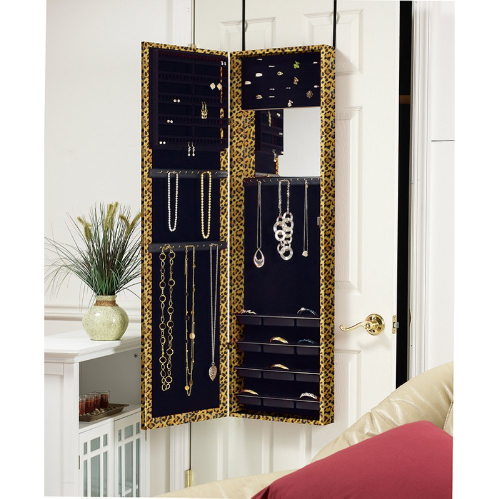Amazon.com: Mirrotek Jewelry Armoire Over The Door Mirror Cabinet, Leopard:  Home U0026 Kitchen