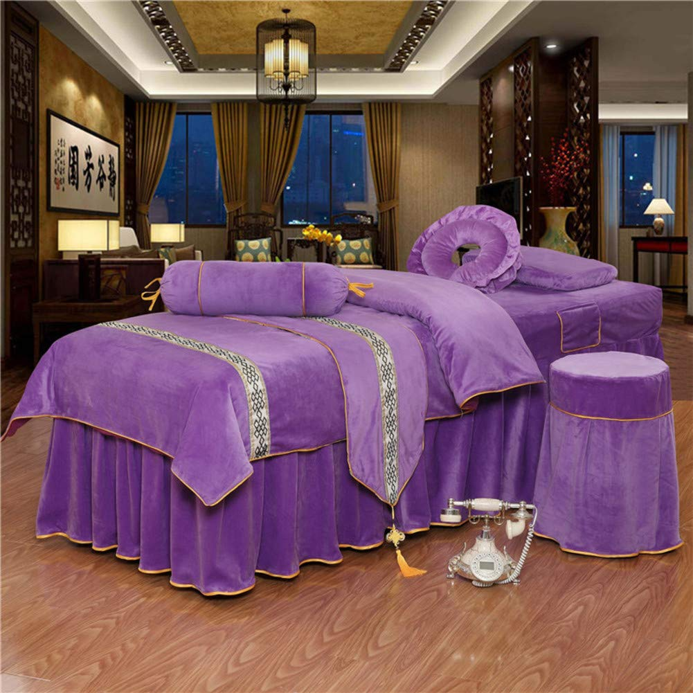 ALHBNAY Round Head Beauty Massage Table Sheet Sets Bedspreads Bed Skirt Sheet, Luxury Massage Therapy Body Beauty Salon Bed Cover, 6pc-Purple 70x185cm(28x73inch)