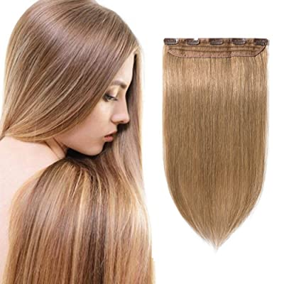 "100% Remy Clip in Hair Extensions Human Hair 16-22inch Natural Hair Grade 7A Quality 3/4 Full Head 1 Piece 5 Clips Long Thick Soft Silky Straight for Women Beauty 16""/16 inch 80g,#27 Dark Blonde)"