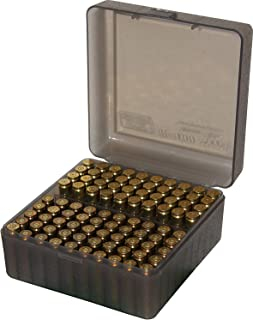 product image for MTM 100 Round Flip-Top Rifle Ammo Box, Medium, Clear Smoke (Pack of 2)