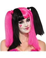 Sweetheart Bright Pink Black Clown Wig Adult Pigtails Women's Costume Accessory