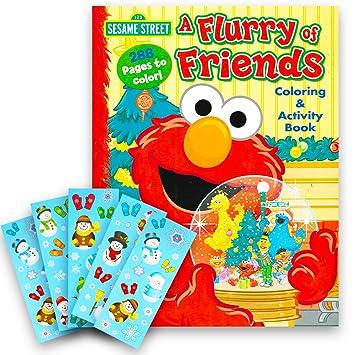 Amazon.com: Sesame Street Elmo Christmas Coloring Book Super Set ...