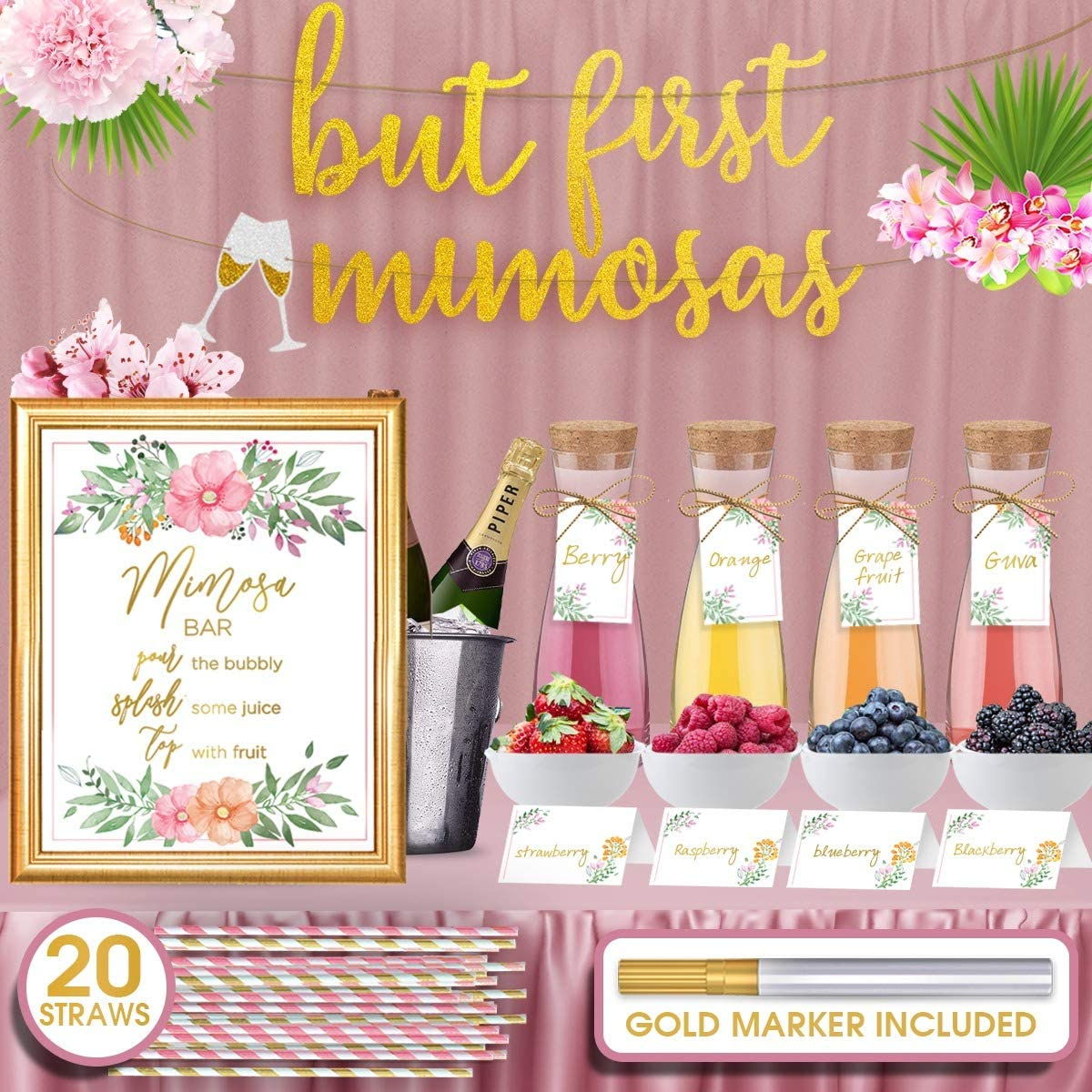 Mimosa Bar Sign But First Mimosas - Gold foil poster,4 Bottle Tags, 20 Striped Paper Straws, 4 Table Cards & a Gold Marker – Super Set for bridal/baby shower, brunch decorations