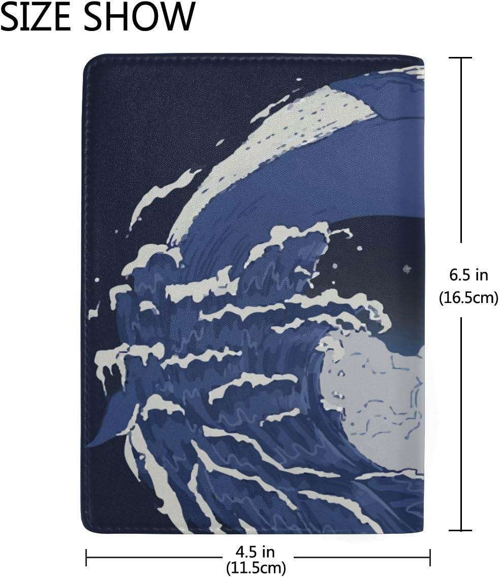 Art Fish Real Leather Passport Holder Wallet Case Cover for Men Women