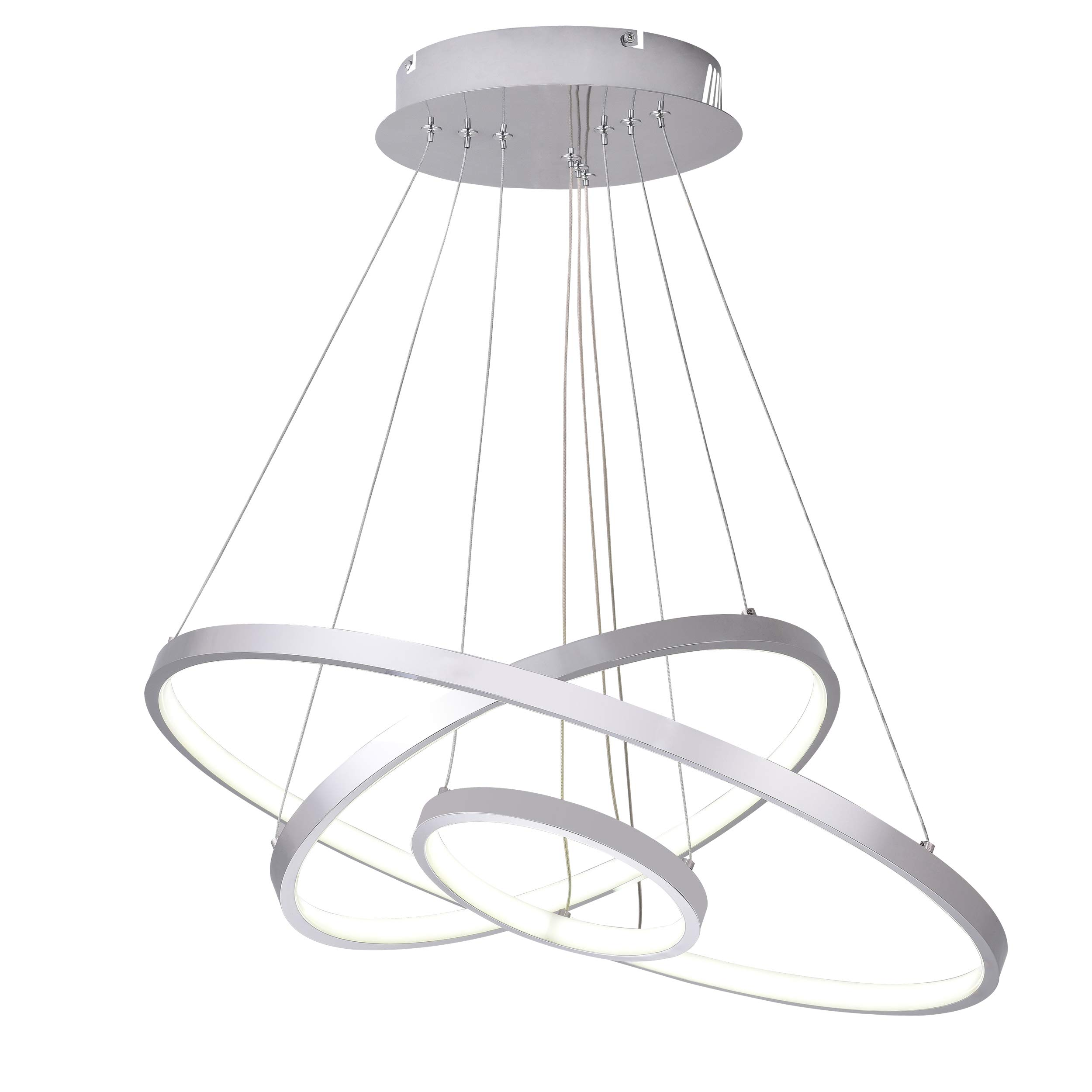 Diborui Modern Pendant Light, Adjustable LED Ceiling Fixture with 3 Ring, Round Shape Chandeliers for Bedroom, Living Room, Dining Room and Kitchen Island, Daylight (5000K), 65W, Chrome