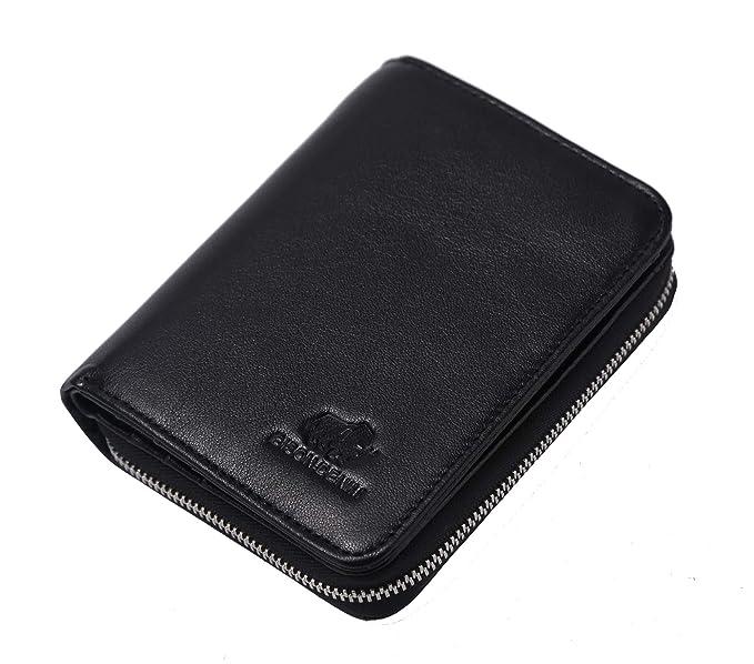 06f3c8433089 BISON DENIM Mens Leather Wallet Zip Around Bifold Wallet Credit Card ...