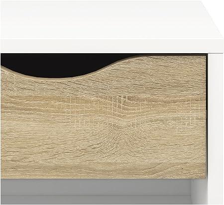 Blanc 1/tiroir Feuille et m/élamine 50,1/x 39,1/x 49,7/cm Esidra 75394/Delta Chevet