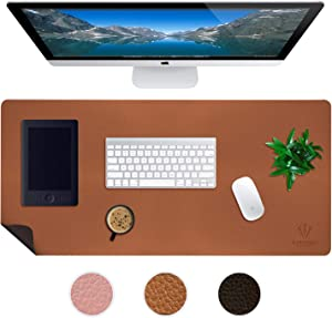 Large Leather Desk Mats for Keyboard and Mouse Pad, Anti-Skid Backing with Heat Resistant and Waterproof Surface, Responsive Desktop for Gaming, Writing, or Home Office Work (Brown, 24X48)