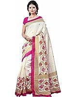 e-VASTRAM Women's Silk Saree With Blouse Piece (Angoori6_Beige)