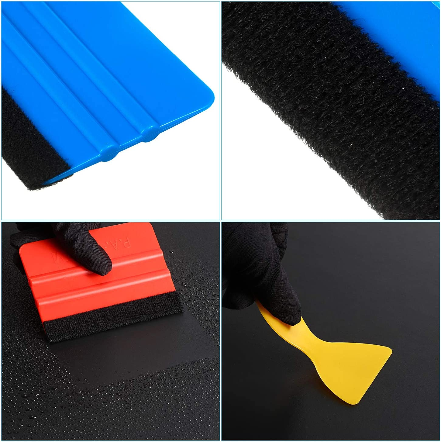 BBTO 6 Pieces Felt Edge Squeegee Car Wrapping Tool Kits with Straight Scraper and Triangle Scraper for Car Vinyl Wrap Wallpaper Window Tint Decal Sticker Installation