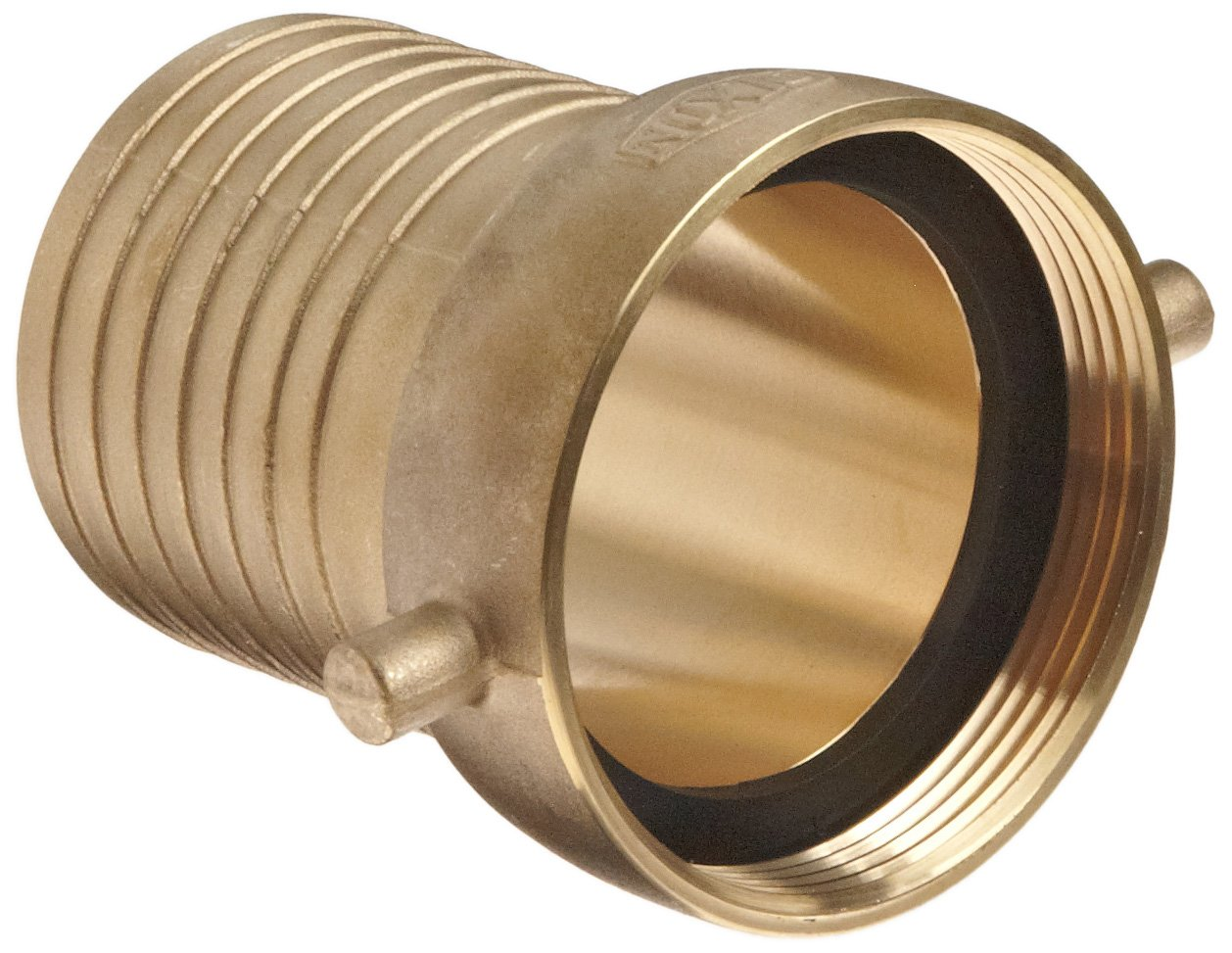 Dixon FBB300 Brass Hose Fitting 3 NPSM Female x 3 Hose ID Barbed King Short Shank Suction Coupling with Brass Nut