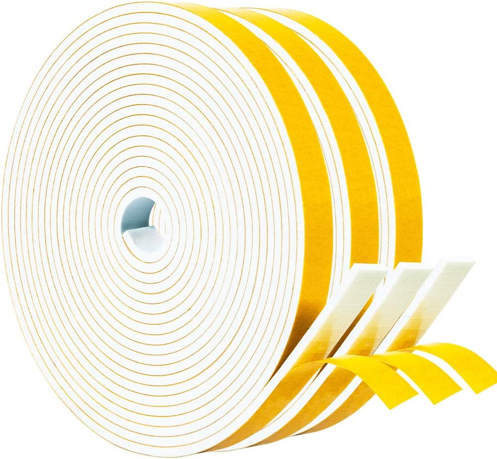 Yotache White Windows Doors Insulation Seal Tape 3 Rolls 1/2 Inch Wide X 1/8 Inch Thick, Adhesive Foam Gasket for Weather Stripping, Cabinet Door Frame, Total 50 Feet Long (3 X 16.5 Ft Each)