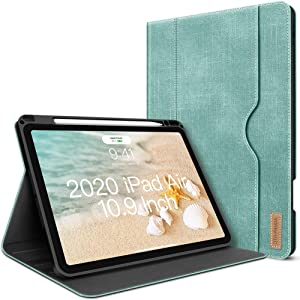 iPad Air 4th Generation Case 2020 New iPad Air 10.9 Inch Case W Pencil Holder PU Leather Folio Stand Smart Cover with Pocket Auto Sleep/Wake[Supports Wireless Charging](Mint Green)