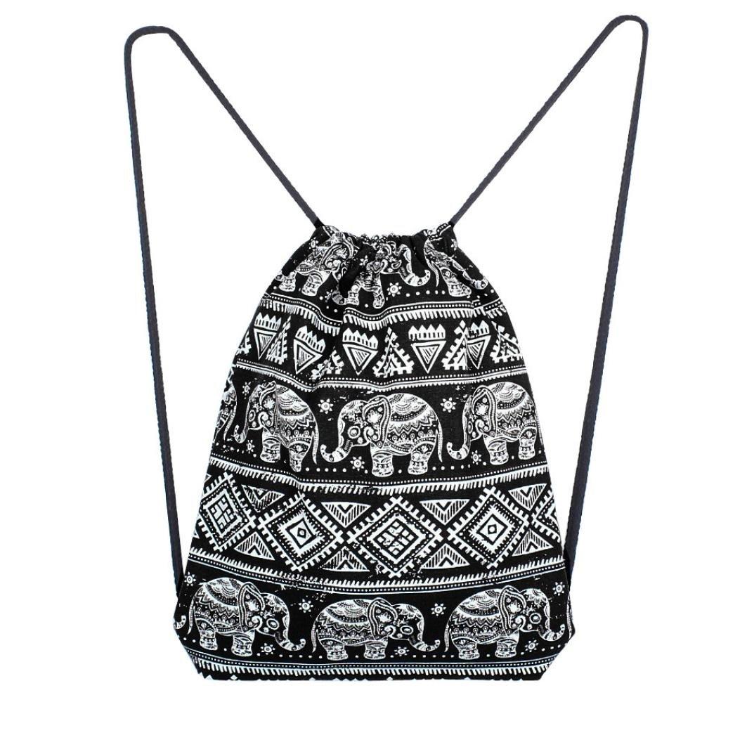 Drawstring Backpack Gym Sackpack Canvas Solid Elephant Printing High Capacity Bucket Bag Shoulder Bag for Men & Women (Black)