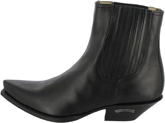 Sendra 3162 bottes de cowboy western motard en cuir noir fait main Unisexe