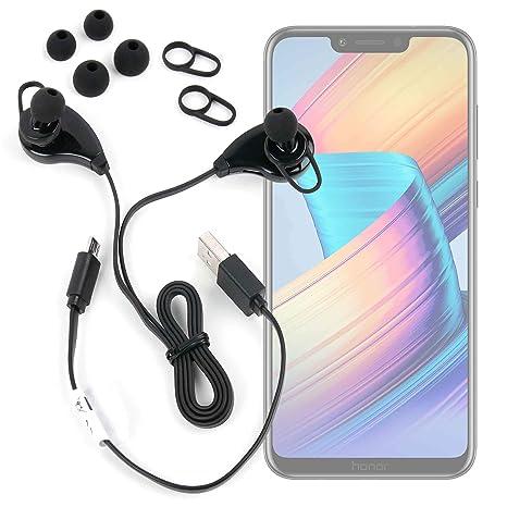 DURAGADGET Auriculares inalámbricos en Color Negro para Smartphone Huawei Honor Play, Huawei Mate 20 Lite