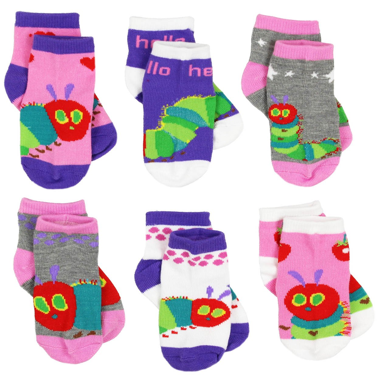 Eric Carle The Very Hungry Caterpillar Girls 6 pack Socks Toddler