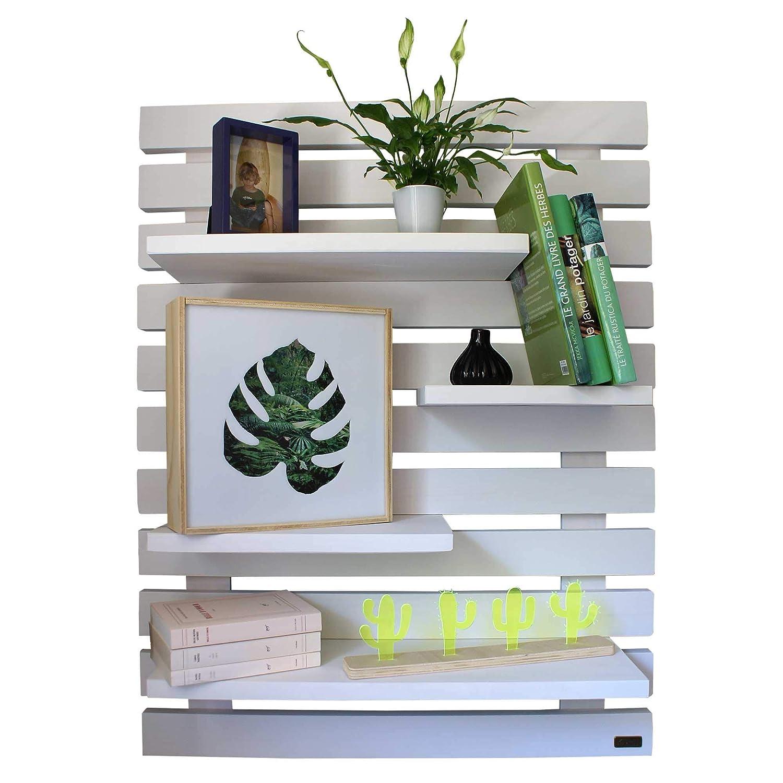 Liza Line Dekoratives Holz WANDREGAL, Bücherregal, Buch Regal, Regal-System mit 4 freihängenden Regalbrettern. Massive Nordisches Holz - 101x80x21cm (Weiss)