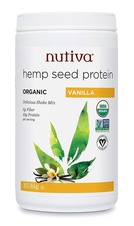 Nutiva Organic Cold-Pressed Hemp Seed Protein Powder, Vanilla, 16 Ounce: Grocery & Gourmet Food