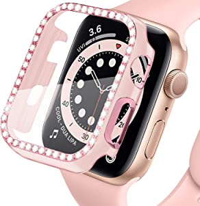 Lobkin Colorful Bling Crystal Diamond Shiny Frame Apple Watch Case Tempered Glass Screen Protector Compatible iWatch Series SE/6/3 Bumper Smartwatch Full Cover Protective Case (Pink-Pink, 42mm)