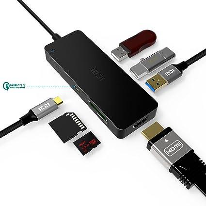 USB C Hub HDMI, iczi USB Type C Hub con 4 K Hdmi, USB 3.0 port