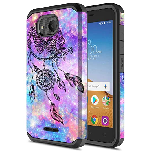 Alcatel Tetra Case, Onyxii Hybrid Dual Layer Slim Graphic Armor Shockproof  Impact Resistant Protective Cover Case for Alcatel Tetra (Dream Catcher)
