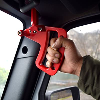 Allinoneparts Front Red Aluminum Grab Handle for Jeep Wrangler JK JKU 2007-2020: Automotive