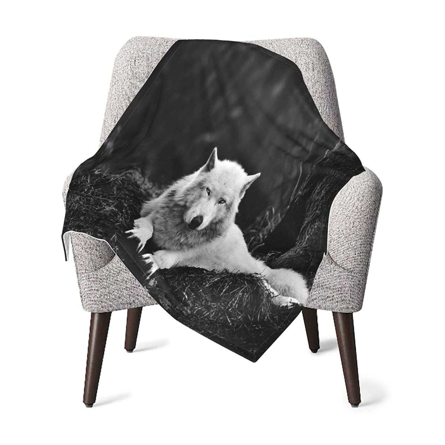 Carwayii Baby Blanket Wolf Wall Decor Forest Lone Wolf Soft Newborn Blanket Receiving Blanket Skin-Friendly Swaddling Blankets Durable Toddler Sheets Thick Shower Gifts for Crib Outdoor