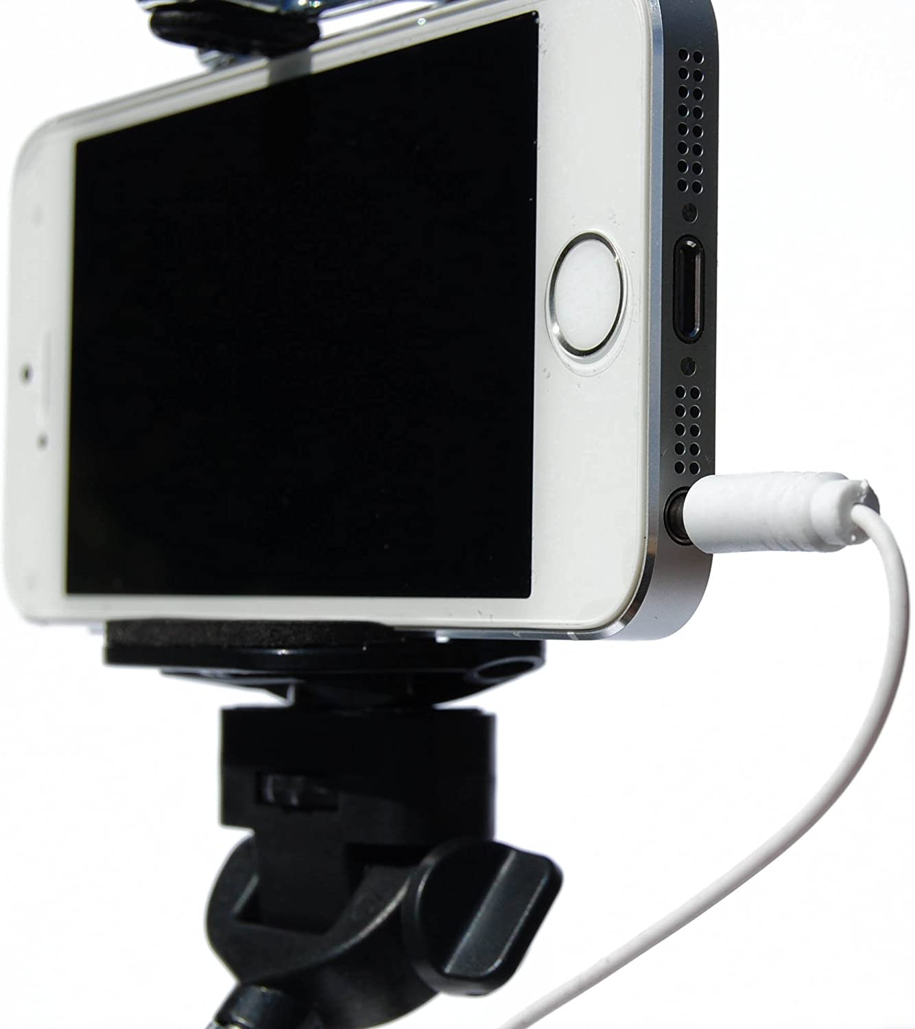 Selfie Stick for Easy Phone Photos Plug in Cable and Click Button Black Handle