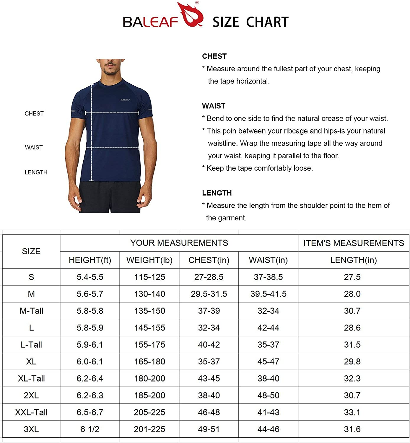 BALEAF Men's Quick Dry Short Sleeve T-Shirt Sun Protection Running Workout Shirts: Clothing