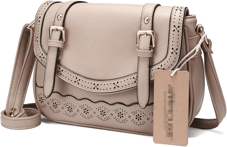 Women Shoulder Bag Vintage Hollow Out Crossbody Bag Pu Leather Lace Messenger Bag