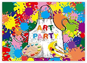 Funnytree 7x5ft Art Paint Party Backdrops Kids Artist Birthday Background Dress for a Mess Painting Splatter Photo Background Graffiti Wall Photography Banner Rainbow Brush Cake Table Decorations