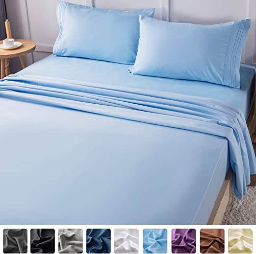 1800 4PC Deep Pocket Embroidered Microfiber Sheet set Queen size Slate Blue