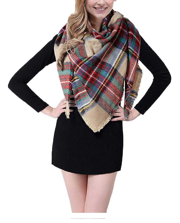 BEINY Soft Cozy Plaid Scarf Gorgeous Triangle Blanket Scarf Wrap Shawl for Women