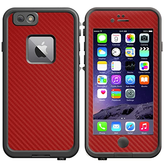 official photos f87dc 6e557 Decalrus - RED Texture Carbon Fiber Protective Vinyl Skin Decal for  LifeProof fre