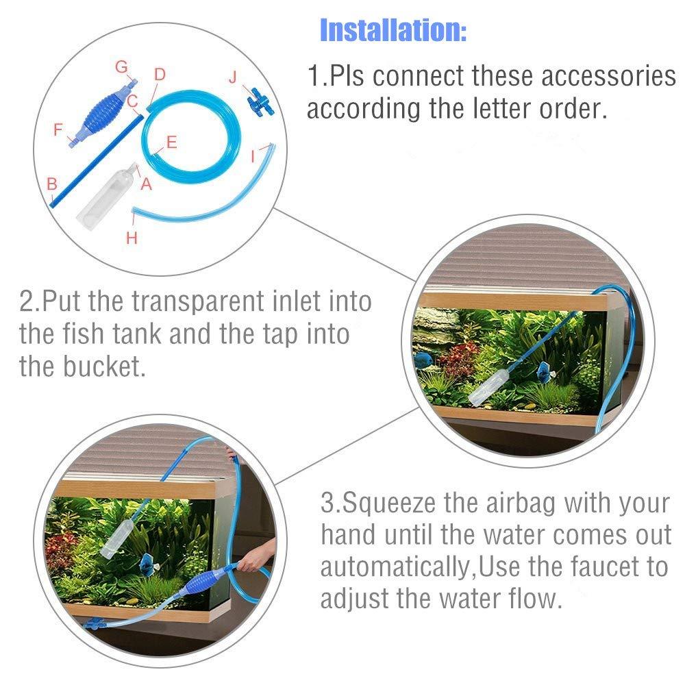 MisteSun Aquarium Fish Tank Gravel Cleaner,Siphon Vacuum Pump Gravel Cleaner Fish Tank Water Changer with Adjustable Flow Control Tape& Aquarium Fish Tank Cleaning Brush