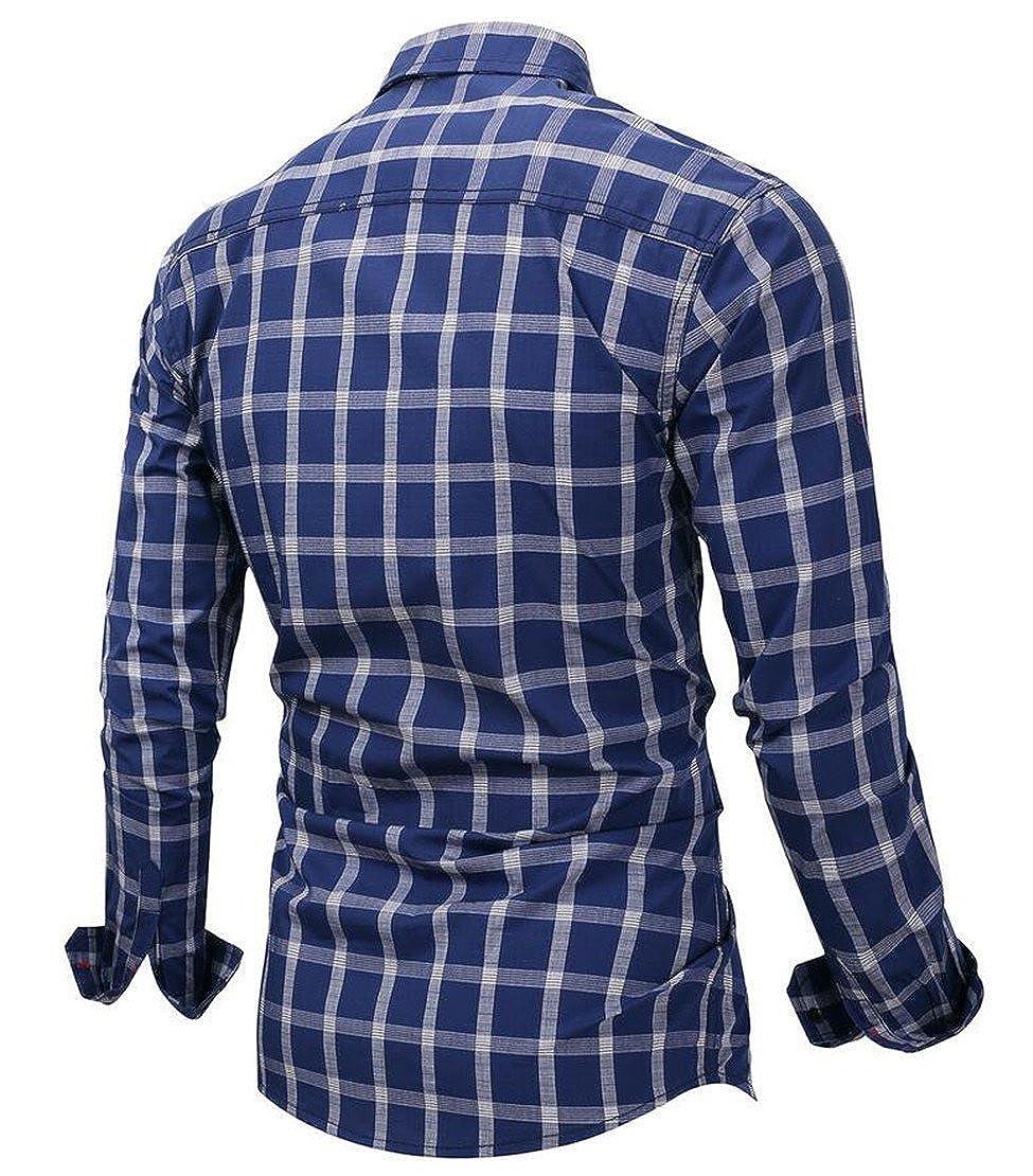 Zantt Men Button Down Plaid Check Pockets Long Sleeve Business Lapel Shirts