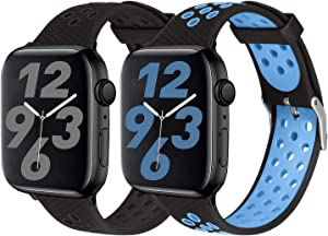 SKYLET Sport Bands Compatible with Apple Watch 42mm 44mm 38mm 40mm, Soft Silicone Breathable Wristbands Replacement Straps Compatible with Apple Watch Series 5 4 3 2 1 for Women Men (Black,Blue)