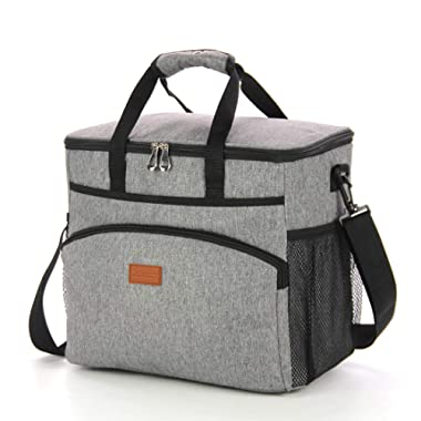 GROWNEER Insulated Food Delivery Bag Commercial Grade Thermal Carrier for Hot or Cold Temperatures - Perfect for Catering or Any Food Transport Occasion, 23 L, Grey