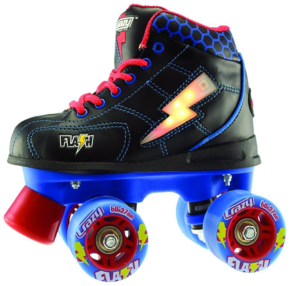 Crazy Skates Flash Roller Skates | LED Light Up Lightning Bolt | Great Beginner Skate kids | Black