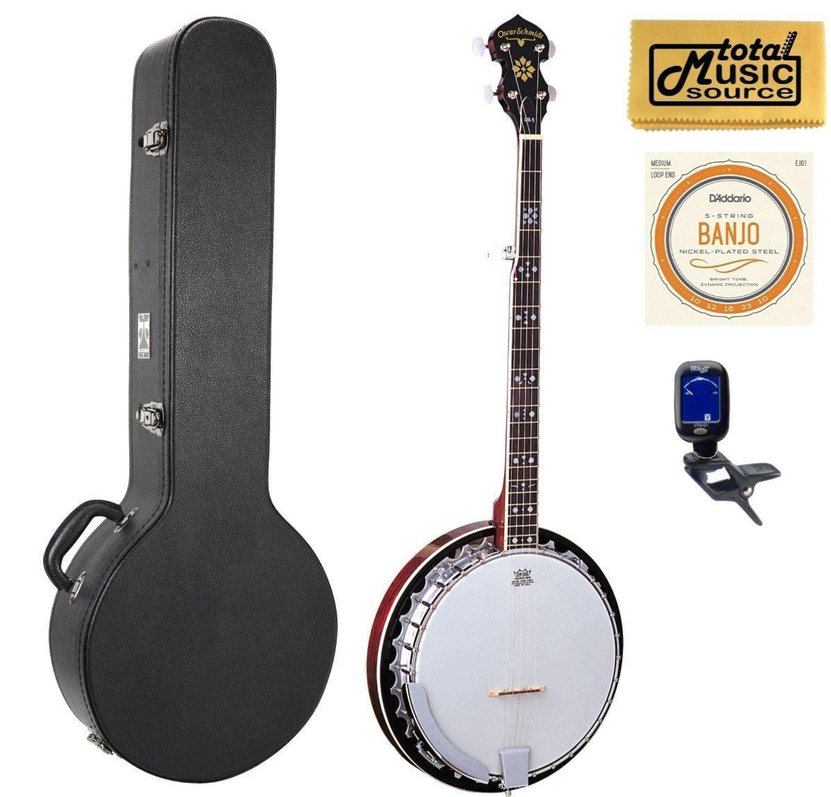 Oscar Schmidt 5-String Banjo With Remo Head, Hard Case Bundle