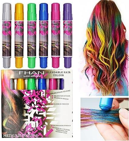 Tiza para Cabello brillante cabello 6 colores Coloración ...