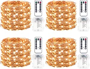 4 PACK LED Light String Battery Powered,50 LEDs on 16.5ft Copper Wire with 8 Modes Remote Control and Timer, Outdoor Christmas Fairy Lights for Bedroom Wedding Party Decor(Warm White)