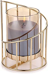 OwnMy Geometric Pillar Candle Holder Decorative Candle Stand Metal Tea Light Holder Votive Candle Holder with Removable Glass Cover, Golden Candlestick Vase Candle Centerpieces for Table Wedding