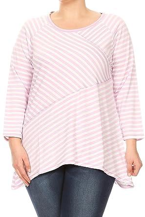 5a844f0df571a BNY Corner Women s Plus-Size Asymmetrically Striped Design Fashion Blouse Tee  Shirt Top Light Purple