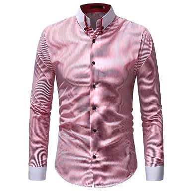 OHQ_Camisa Hombre Blusa OtoñO Moda 2018 Invierno Casual Rayas Manga Larga BotóN Camiseta T-Shirt Blusa Pantalones Chaleco Tapas Camisas Polo Ropa Interior ...